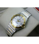 Omega Constellation OM034 Perlmutt Diamond Automatic-18k Gold Cyclone texture Dial-Stainless Steel TT Linked Strap