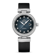 Omega De Ville Ladymatic Automatic Watch Blue Dial Black Leather 34mm