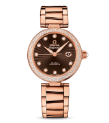 Omega De Ville Ladymatic Automatic Watch Rose Gold Brown Dial 34mm