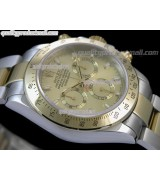 Rolex Daytona Swiss 18K Gold Bi Tone Chronograph-Gold Dial Gold Ring Subdials-Stainless Steel Oyster Bracelet