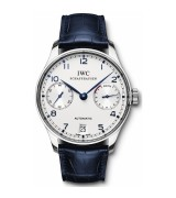 IWC Portuguese 7 Days Swiss Automatic Watch IW500107-White Dial Dark Blue Leather Strap