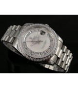 Rolex Day-Date E730 Automatic-Silver Dial Roman Number Markers-Stainless Steel Strap