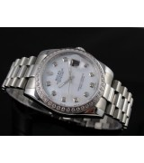 Rolex Datejust II 41mm Swiss Automatic Watch-White Dial Diamond Hour Markers-Stainless Steel Oyster Bracelet