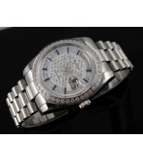 Rolex Day-Date E727 Automatic-Diamond Dial Gormment Markers-Stainless Steel Strap