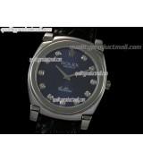 Rolex Cellini Swiss Quartz Watch-Blue Dial Swiss Cut CZ Diamond Hour Markers-Black Leather strap