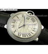 Cartier Blue Ballon Ladies Swiss Watch-White Dial Diamond Crested Bezel-Black Leather Strap