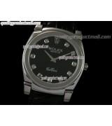 Rolex Cellini Swiss Quartz Watch-Black Dial Diamond Hour Markers-Black Leather strap