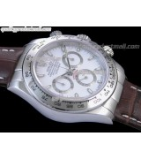 Rolex Daytona Swiss Chronograph-White Dial, Silver Ring Subdails-Genuine Brown Leather Strap