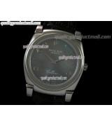 Rolex Cellini Swiss Quartz Watch-Black MOP Dial Droplet Hour Markers-Black Leather strap