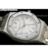 Audemars Piguet Royal Oak 36MM Watch-White Checkered Dial Index Hour Markers-Stainless Steel Strap