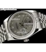 Rolex Datejust 36mm Swiss Automatic Watch-Grey Dial Diamond Hour Markers-Stainless Steel Jubilee Bracelet