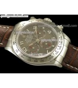 Rolex Daytona Swiss Chronograh-Grey Dial Red Ring Subdials-Genuine Brown Leather Strap