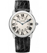 Cartier Ronde Solo Steel Black Leather Mens Watch W6700255