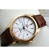 Omega De Ville Automatic 18k Rose Gold-White Dial-Gormment Markers 4 Needles-Brown Genuine Leather Strap