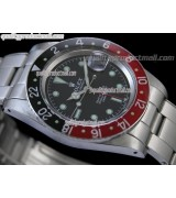 Rolex GMT II Vintage Automatic Watch-Black Dial Black/Red Bezel-Stainless Steel Oyster Riverted Bracelet