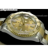 Rolex Yachtmaster II Bi Tone Swiss ETA-Gold Dial White Dot Markers-Gold Plated Stainless Steel Oyster Strap