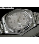 Rolex DayDate II 41mm Swiss Automatic Watch-Silver Dial Diamond Hour Markers-Stainless Steel Presidential Bracelet