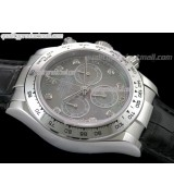 Rolex Daytona Swiss Chronograh-Black MOP Dial, Silver Ring Subdials-Genuine Black Leather Strap
