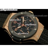 Hublot Big Bang Chronograph 18K Rose Gold-Carbon Fibre Black Dial Black Subdials-Black Rubber Strap