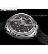 Tag Heuer Grand Carrera Calibre 36 Chronograph-Brown dial Sucken Steel Subdials-Black Rubber Bracelet