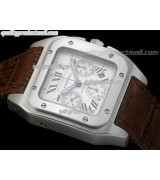 Cartier Santos 100 Chronograph-White Dial Semi Sunken Subdials-Brown Leather Strap