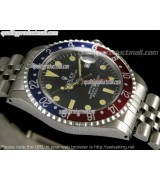 Rolex GMT II Ceramic Automatic Watch-Black Dial Blue/Red Bezel-Stainless Steel Jubilee Bracelet