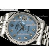 Rolex Datejust 36mm Swiss Automatic Watch-Blue MOP Dial Diamond Hours-Stainless Steel Jubilee Bracelet
