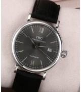 IWC Portofino Automatic Watch Swiss 2892 - Grey Dial With Stick Marker - Black Leather Strap
