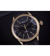 Rolex Cellini Swiss Automatic Watch Yellow Gold-Black Dial Stick Hour Markers-Black Leather Strap