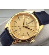 Rolex Cellini Swiss Automatic Watch Yellow Gold-Golden Dial Stick Roman Hour Markers-Black Leather Strap