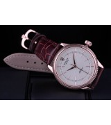 Rolex Cellini Swiss Automatic Watch Rose Gold-Ray White Dial Stick Hour Markers-Brown Leather Strap