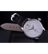 Rolex Cellini Swiss Automatic Watch White Gold-Ray White Dial Stick Hour Markers-Black Leather strap