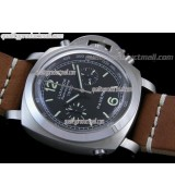 Panerai Luminor Daylight PAM213 Chronograph-Black Dial Black Subdials-Brown Leather Strap