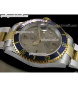 Rolex Submariner Automatic ETA Bi Tone 18K Gold-Grey Dial-18K Plated Gold Plated/Steel Two Tone Oyster Bracelet