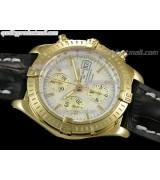 Breitling Chronomat Evolution V3 Chronograph 18K Gold-White Dial Gold Subdials Hour Index Markers-Black Leather Bracelet