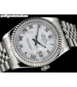 Rolex Datejust 36mm Swiss Automatic Watch-White Dial Roman Numeral Hour Markers-Stainless Steel Jubilee Bracelet