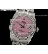 Rolex Datejust 36mm Swiss Automatic Watch-MOP Pink Dial Diamond Hour Markers-Stainless Steel Jubilee Bracelet