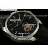 Tag Heuer Grand Carrera Tourbillon Handwould Watch-Black dial Steel Markers-Black Leather strap