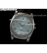 Rolex Cellini Swiss Quartz Watch-Lilac Blue Dial Droplet Hour Markers-Black Leather strap