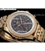 Breitling Bentley 30S Chronograph18K Rose Gold-Black Dial Black Subdials.-Stainless Steel Bracelet