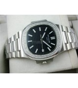 Patek Philippe Nautilus Swiss Automatic Watch Black Dial Diamonds Bezel