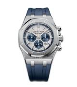 Audemars Piguet Royal Oak Automatic Chronograph 26326ST.OO.D027CA.01-Silver White Dial Blue Rubber Strap