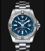 Breitling Avenger II GMT Swiss Automatic Watch Blue Dial SS Strap