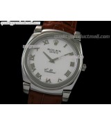 Rolex Cellini Swiss Quartz Watch-White Dial Roman Numeral Hour Markers-Brown Leather strap