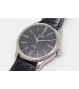Rolex Cellini Time 50509 Swiss Automatic Watch-Black dial 18K White gold Pointer Hour markers -Black leather strap
