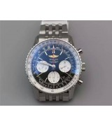 Breitling Navitimer Swiss 7750 Chronograph-Black Dial with Stick Markers-Stainless Steel Bracelet