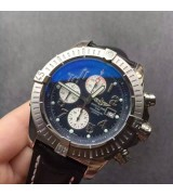 Breitling Super Avenger Swiss Automatic Chronograph-Blue Dial Numerals Markers-Black Leather Strap