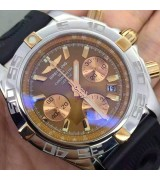 Breitling Chronomat B01 Automatic Chronograph-Brown Dial Gold Ring-Black Rubber Strap