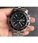 Breitling SuperOcean Swiss Automatic Chronograph-Blue Hand SS Strap