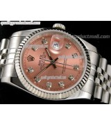 Rolex Datejust 36mm Swiss Automatic Watch-Salmon Sunburst Dial Diamond Hours-Stainless Steel Jubilee Bracelet
